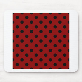Polka Dots Large - Black on Dark Red Mouse Pad