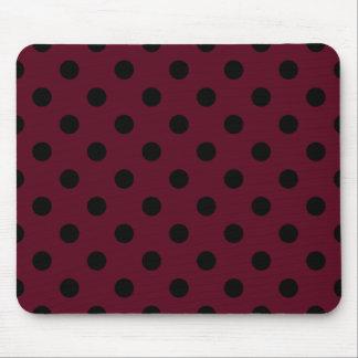 Polka Dots Large - Black on Dark Scarlet Mousepad
