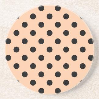 Polka Dots Large - Black on Deep Peach Coasters