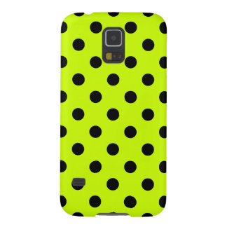 Polka Dots Large - Black on Fluorescent Yellow Cases For Galaxy S5