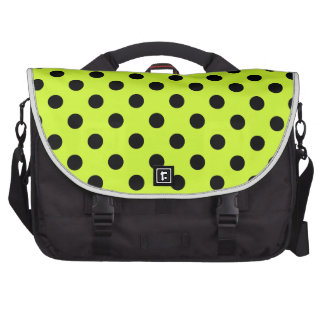 Polka Dots Large - Black on Fluorescent Yellow Laptop Bags