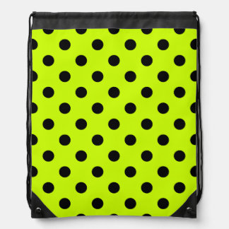 Polka Dots Large - Black on Fluorescent Yellow Cinch Bags
