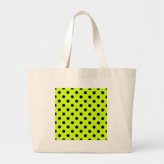 Polka Dots Large - Black on Fluorescent Yellow Bags