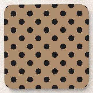 Polka Dots Large - Black on Pale Brown Beverage Coasters