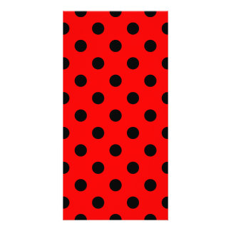 Polka Dots Large - Black on Red Personalized Photo Card