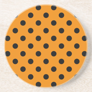Polka Dots Large - Black on Tangerine Beverage Coaster