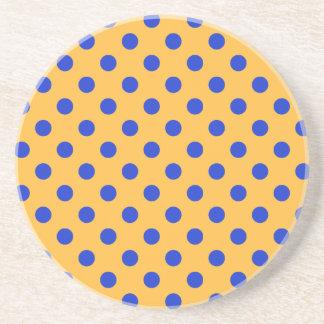 Polka Dots Large - Blue on Orange Drink Coasters