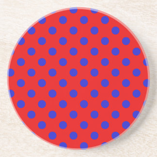 Polka Dots Large - Blue on Red Drink Coaster