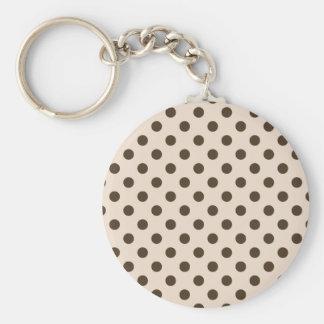 Polka Dots Large - Cafe Noir on Almond Key Chain