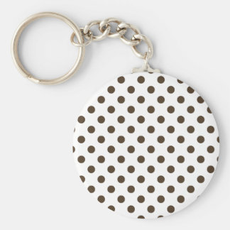 Polka Dots Large - Cafe Noir on White Key Chain