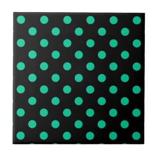 Polka Dots Large - Caribbean Green on Black Tiles