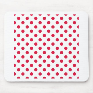 Polka Dots Large - Crimson on White Mouse Pad