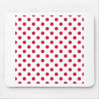 Polka Dots Large - Crimson on White Mouse Pad