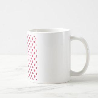 Polka Dots Large - Crimson on White Coffee Mugs