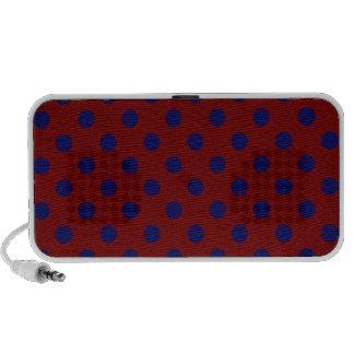 Polka Dots Large - Dark Blue on Dark Red Notebook Speakers