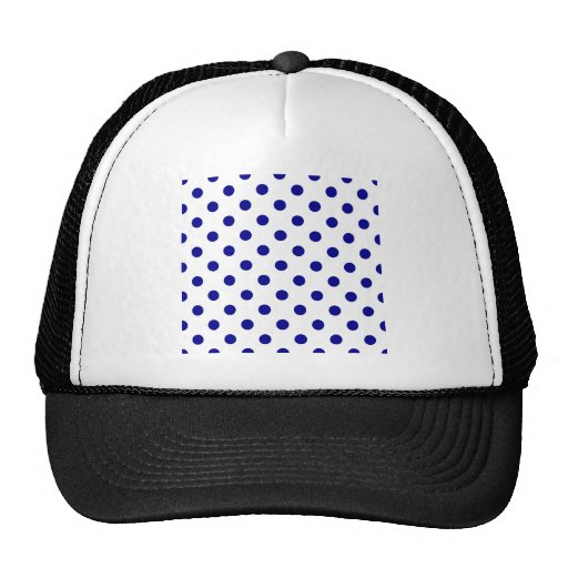 Polka Dots Large - Dark Blue on White Hat