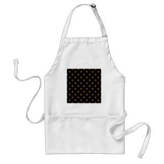 Polka Dots Large - Dark Brown on Black Aprons