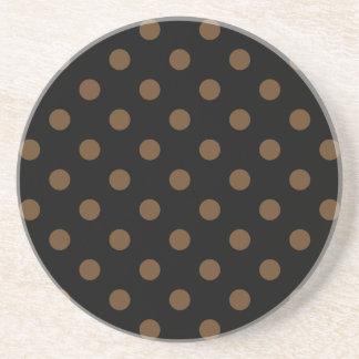 Polka Dots Large - Dark Brown on Black Drink Coasters