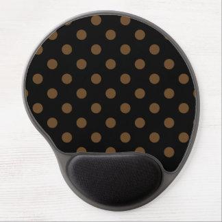 Polka Dots Large - Dark Brown on Black Gel Mousepad