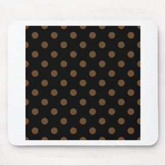 Polka Dots Large - Dark Brown on Black Mousepad