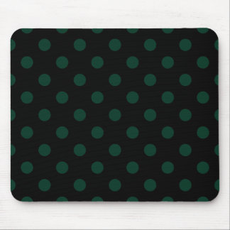 Polka Dots Large - Dark Green on Black Mousepads