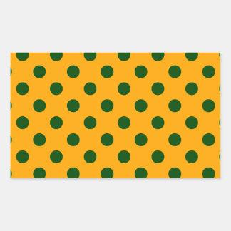 Polka Dots Large - Dark Green on Orange Stickers