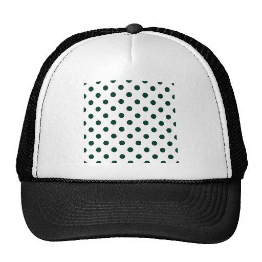 Polka Dots Large - Dark Green on White Trucker Hats