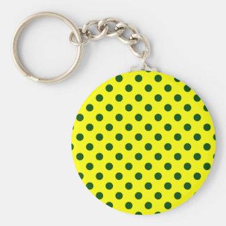 Polka Dots Large - Dark Green on Yellow Key Chain