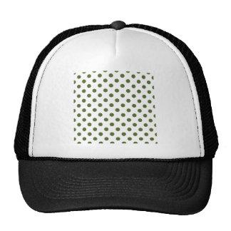 Polka Dots Large - Dark Olive Green on White Trucker Hat