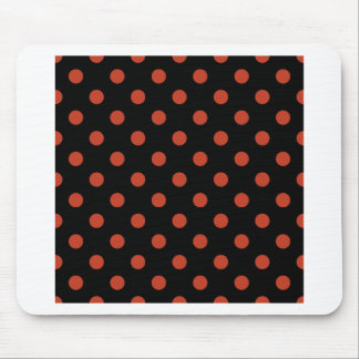Polka Dots Large - Dark Pastel Red on Black Mouse Pad