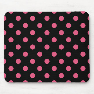 Polka Dots Large - Dark Pink on Black Mouse Pad