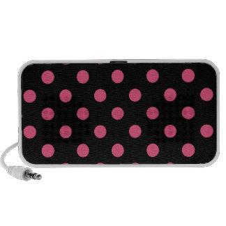 Polka Dots Large - Dark Pink on Black iPod Speakers