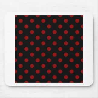 Polka Dots Large - Dark Red on Black Mouse Pad