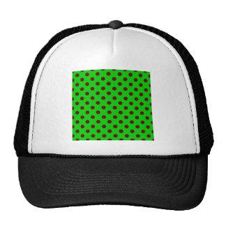 Polka Dots Large - Dark Red on Bright Green Trucker Hats