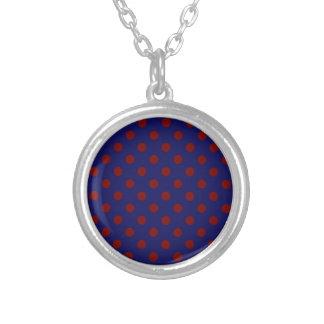 Polka Dots Large - Dark Red on Dark Blue Pendant