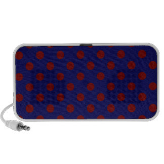 Polka Dots Large - Dark Red on Dark Blue Travel Speaker
