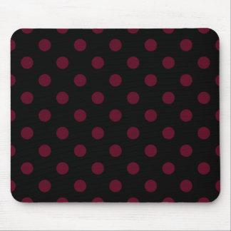 Polka Dots Large - Dark Scarlet on Black Mousepads