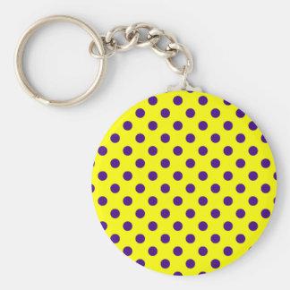 Polka Dots Large - Dark Violet on Yellow Key Chain