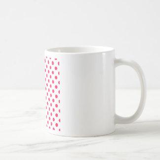 Polka Dots Large - Electric Crimson on  White Coffee Mug