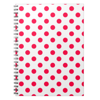 Polka Dots Large - Electric Crimson on  White Spiral Notebook