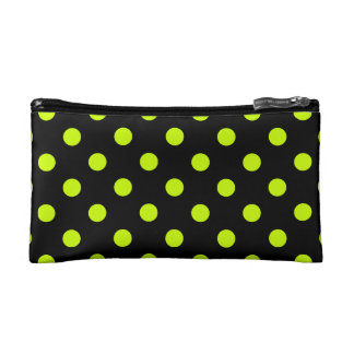 Polka Dots Large - Fluorescent Yellow on Black Cosmetic Bag