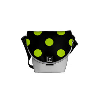 Polka Dots Large - Fluorescent Yellow on Black Courier Bag