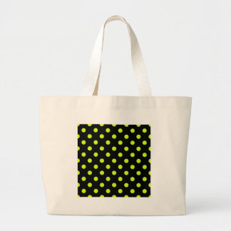 Polka Dots Large - Fluorescent Yellow on Black Jumbo Tote Bag