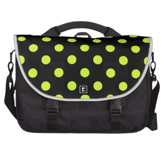Polka Dots Large - Fluorescent Yellow on Black Computer Bag