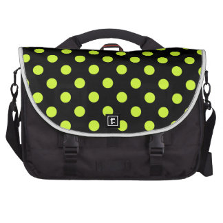 Polka Dots Large - Fluorescent Yellow on Black Commuter Bags