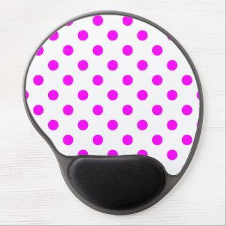 Polka Dots Large - Fuchsia on White Gel Mouse Mat