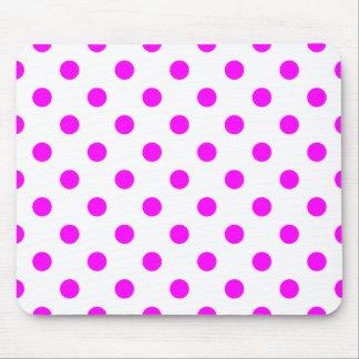 Polka Dots Large - Fuchsia on White Mousepad