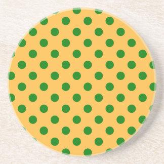 Polka Dots Large - Green on Orange Coaster