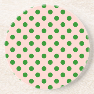 Polka Dots Large - Green on Pink Drink Coasters