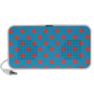Polka Dots Large - Light Red on Light Blue Speaker